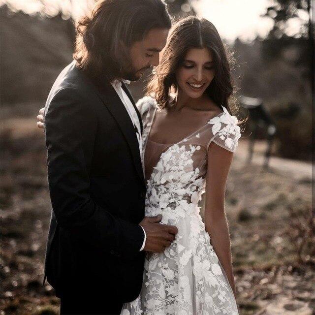 Sexy Bohemian Wedding Dress 2021 Short Sleeves Deep V Neck 3d Floral Appliques Bridal Gowns Backless Vestido De Noiva Lorie 3