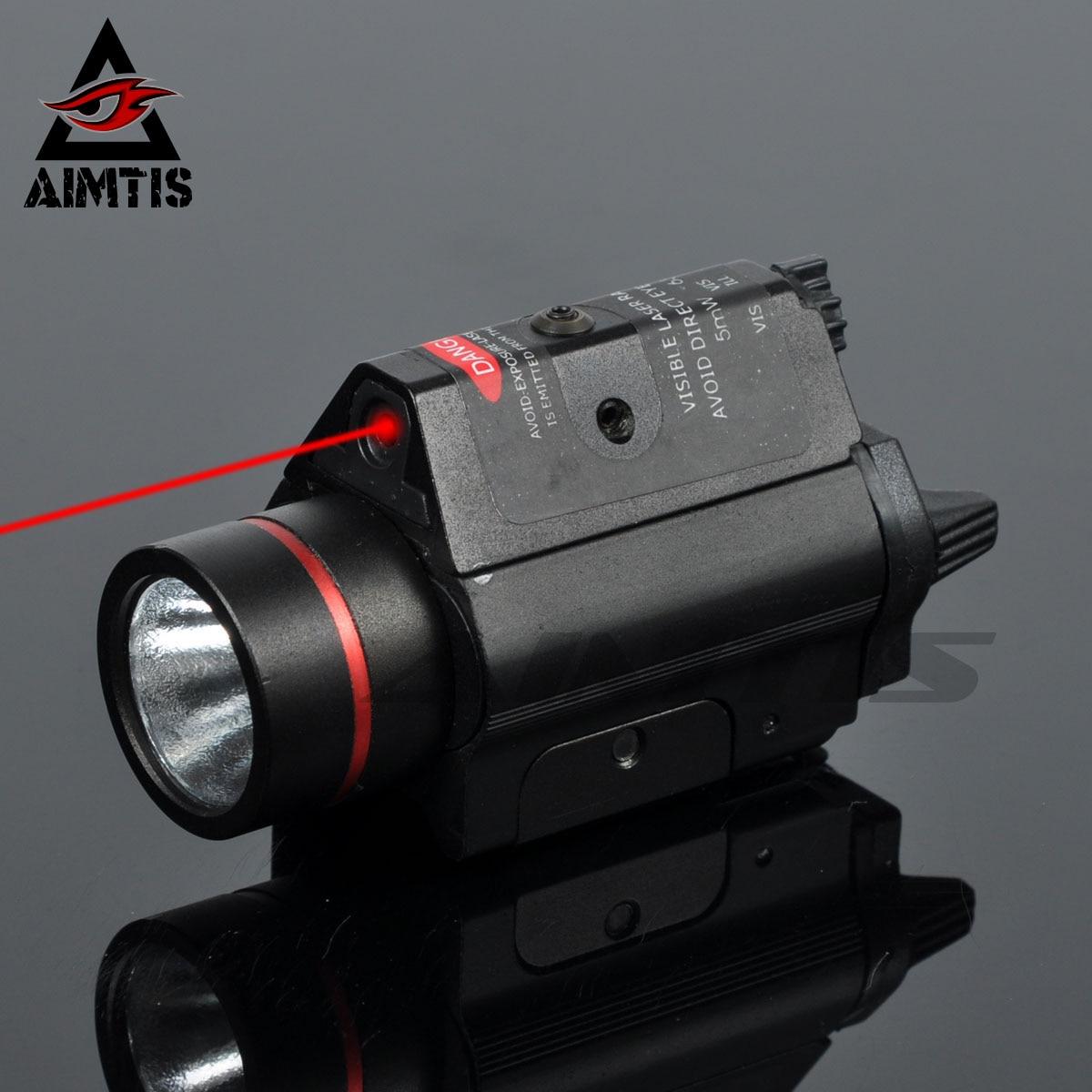AIMTIS Tactical Red Laser Flashlight Combo Aluminum Head Mini Glock Pistol Gun Light Lanterna Airsoft Light