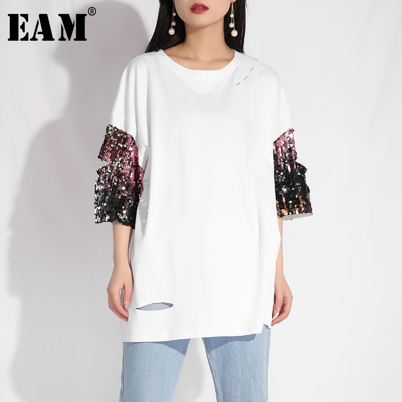 [EAM] 2019 New Spring Summer Round Neck Half Sleeve White Holes Loose Sequins Spliced Big Size T-shirt Women Fashion Tide T321