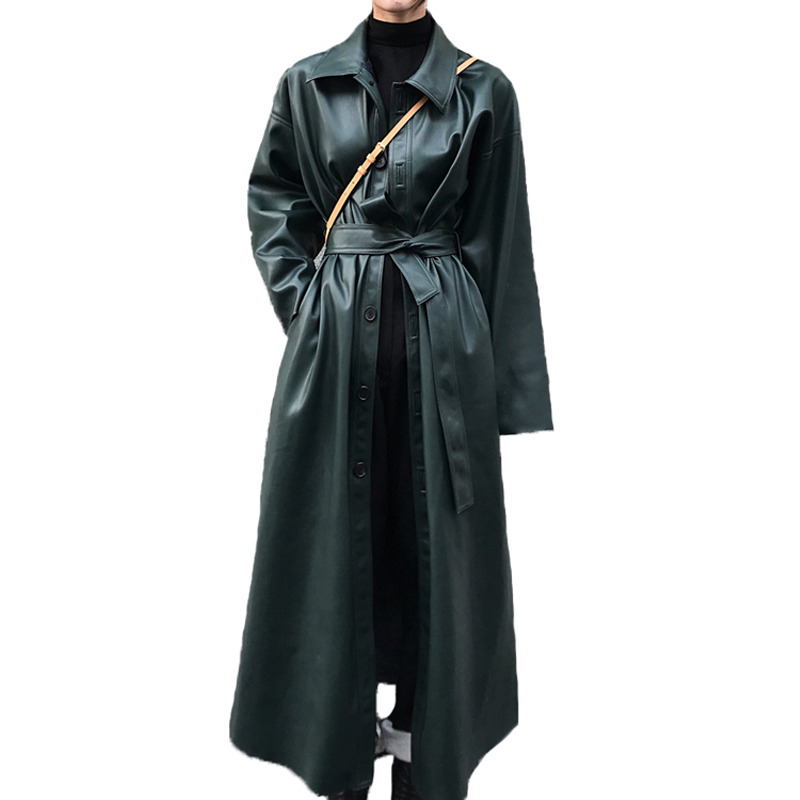 Manteau Shengpalae Cuir Nouvelle Black Coupe Style vent Single Fi103 Long Mode De green Tranchée Femelle Femmes coréen 2019 breasted Revers En Pour rrTngqf
