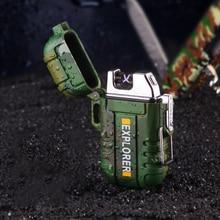 Двойной дуги водостойкий ветрозащитный Открытый выживания зажигалка для кемпинга Плазменные электронные прикуриватели USB импульсного беспламенного