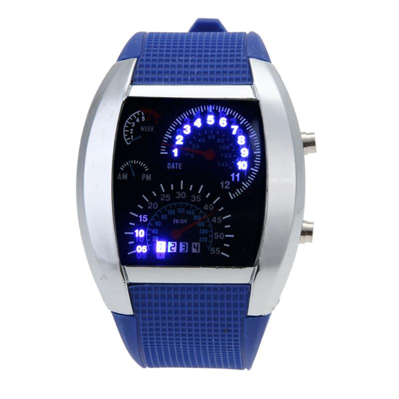 Watches Mens Unique Led Digital Watch Blue White Led Watches Black Soft Rubber Digital Wrist Watch For Men As Gift Factory Direct Selling Price Men's Watches