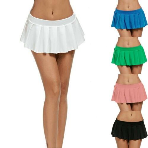 Sexy Shirts Womens Pleated Mini Skirt Schoolgirl Micro Cosplay Club Costume Solid Color Mini Skirts Faldas Mujer Moda 2019