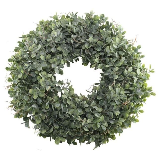 Искусственные зеленые листья венок-17,5 дюймов спереди дверной венок основа трава самшита венок для стены окно вечерние Декор