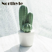 Genuine Dream house DH BS179262 Ceramic potted cactus figurine porcelain miniatures craft home decoration accessories