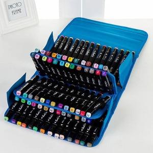 Image 1 - Breeze 3 색 80 홀 마커 펜 가방 편지지 아트 마커 펜 가방 아티스트 스케치 copic 마커 펜 가방 학교 용품
