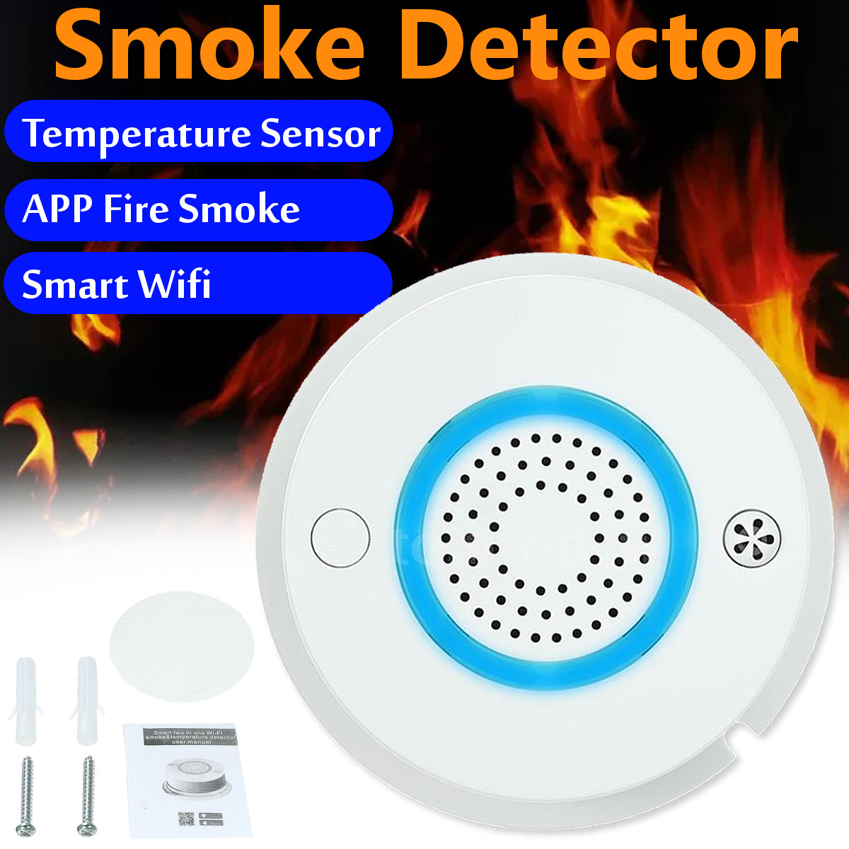 Smart WIFI Smoke Detector Fires Alarm Temperature Sensor GPRS Fires Protect Monitor For Home Store Office Security Alarm System