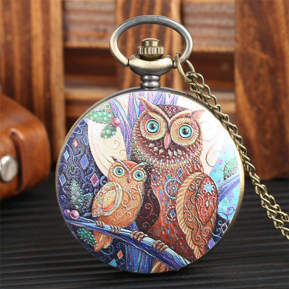 Colorful Owl Design Pocket Watch For Men Women Bronze Necklace Chain Exquisite Old Fashion Pendant Watch Quartz New 2019