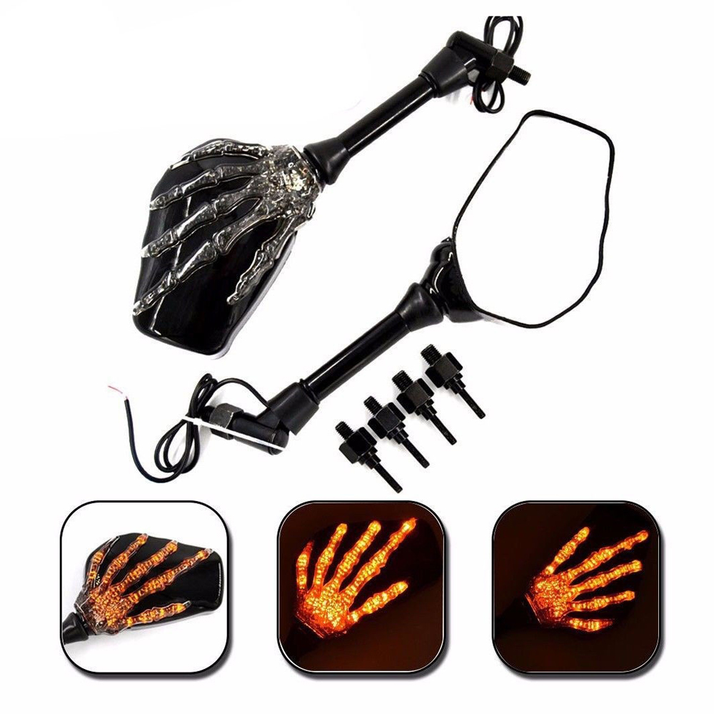 Universal Motorcycle Motorbike LED Skull Hand Rear View Glass Turn Signal Mirrors Motorcycle Accessory
