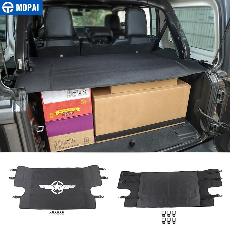 MOPAI Stowing Tidying for Jeep Wrangler JL 2018 Car Luggage Carrier Trunk Curtain Cover for Jeep