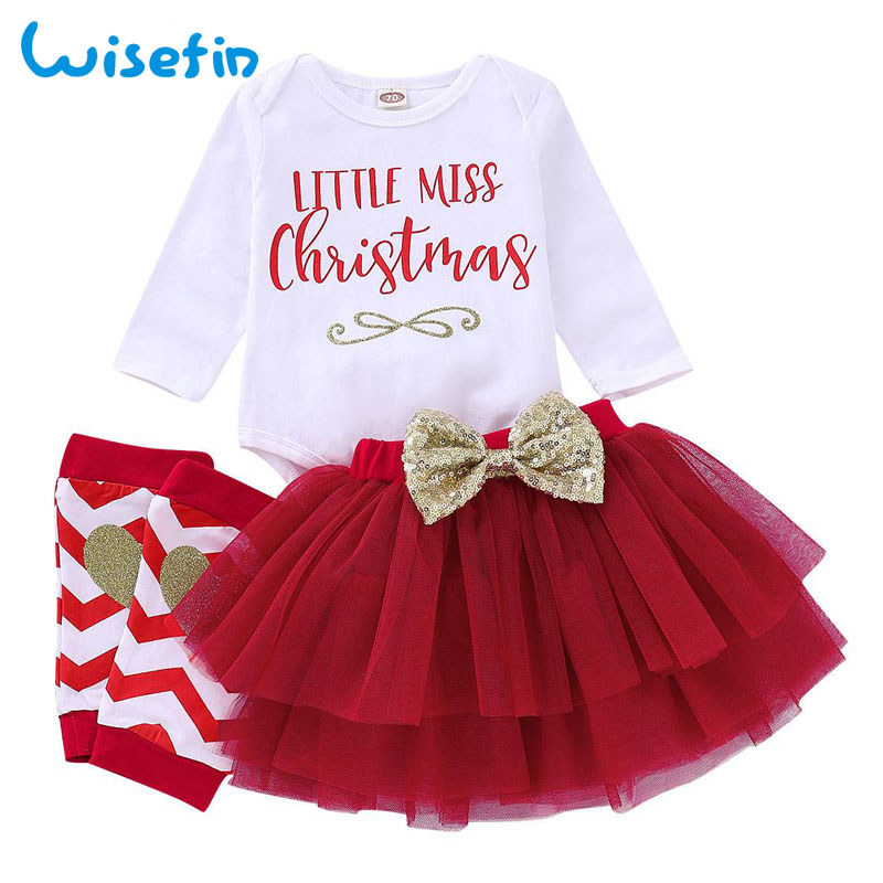 My First Christmas Girl Clothes Bow Baby Girl Clothing Set Christmas Clothes Newborn Bodysuit+Leg Warmers+Tulle Skirts P30