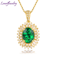Solid 14K Yellow Gold Good Natural Green Colombia Emerald Wedding Pendant Necklace Round Baguette Diamond  Women Jewelry
