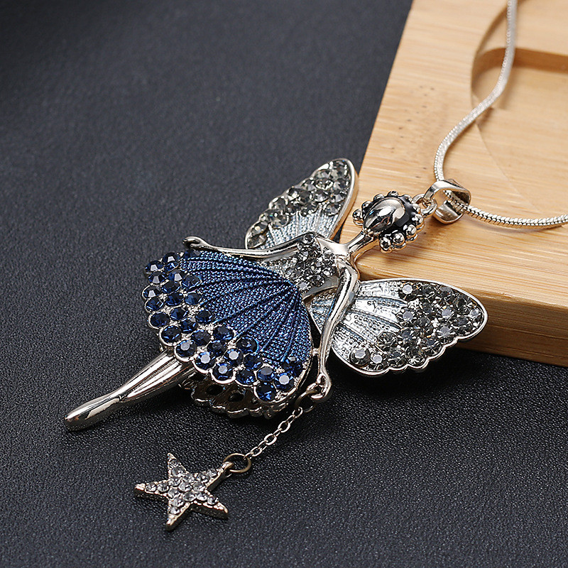 Cartoon Pendant Angel Necklace Zirconia Star Women Ladies Winter Necklace Long Sweater Necklace Chain Little Princess Decoration