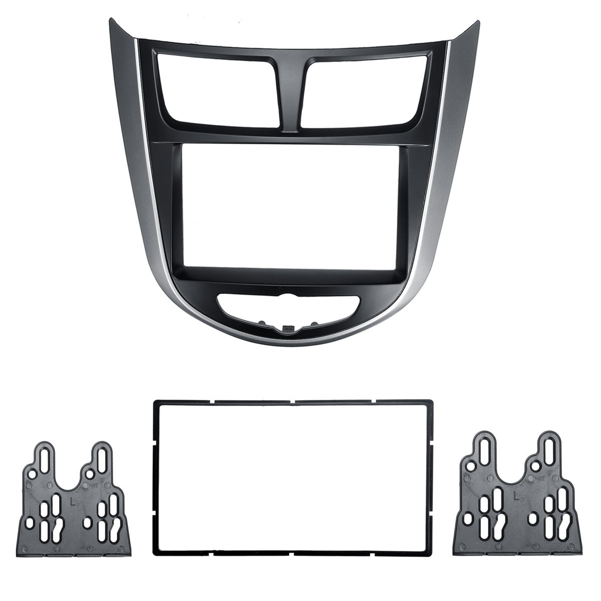2 Dins Car Center Stereo Audio Radio DVD GPS Plate Panel Frame Fascias Replacement For Hyundai i-25 For Accent Solaris Verna image