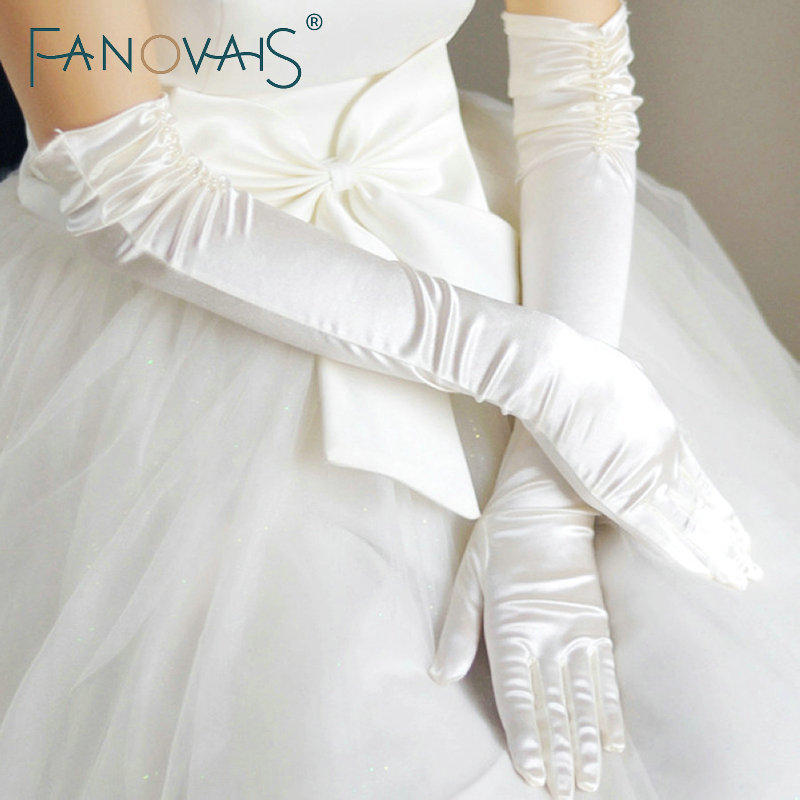 Hot Selling Elbow Length Wedding Gloves with Fingers Pleats Beautiful Bridal Gloves