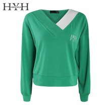 HYH HAOYIHUI  2019 Hoodie Asymmetrical Colour V Leaders Lower Pendulum Embroidered Loose Short Sanitary Clothes