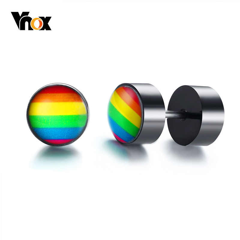 Vnox Pride Rainbow Stud Earrings For Men Stainless Steel Screw Earings Punk Jewelry