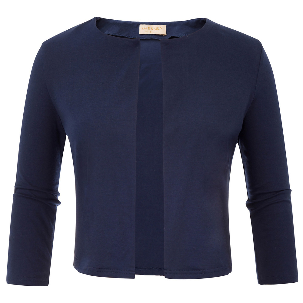 Kate Kasin Women's   Basic   Short Coat Long Sleeve Open Front Cropped Tops 2018 Female   Jacket   Cotton Bolero Shrug For Casual Wear