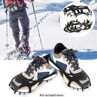 1 paar 18 Zähne Nicht-slip Eis Schnee Klettern Anti-slip Schuh Abdeckungen Spike Stollen Steigeisen Anti- rutschschuhe
