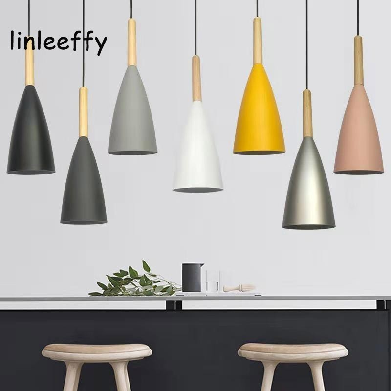 Wood Pendant Lights E27 LED Modern Hanglamp Nordic Lamp Living Room Restaurants Kitchen Dining Bar Droplight
