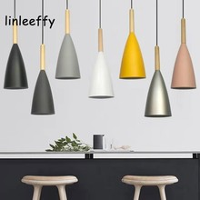 цены Wood Pendant Lights E27 LED Modern Hanglamp Nordic Lamp Living Room Restaurants Kitchen Dining Bar Droplight