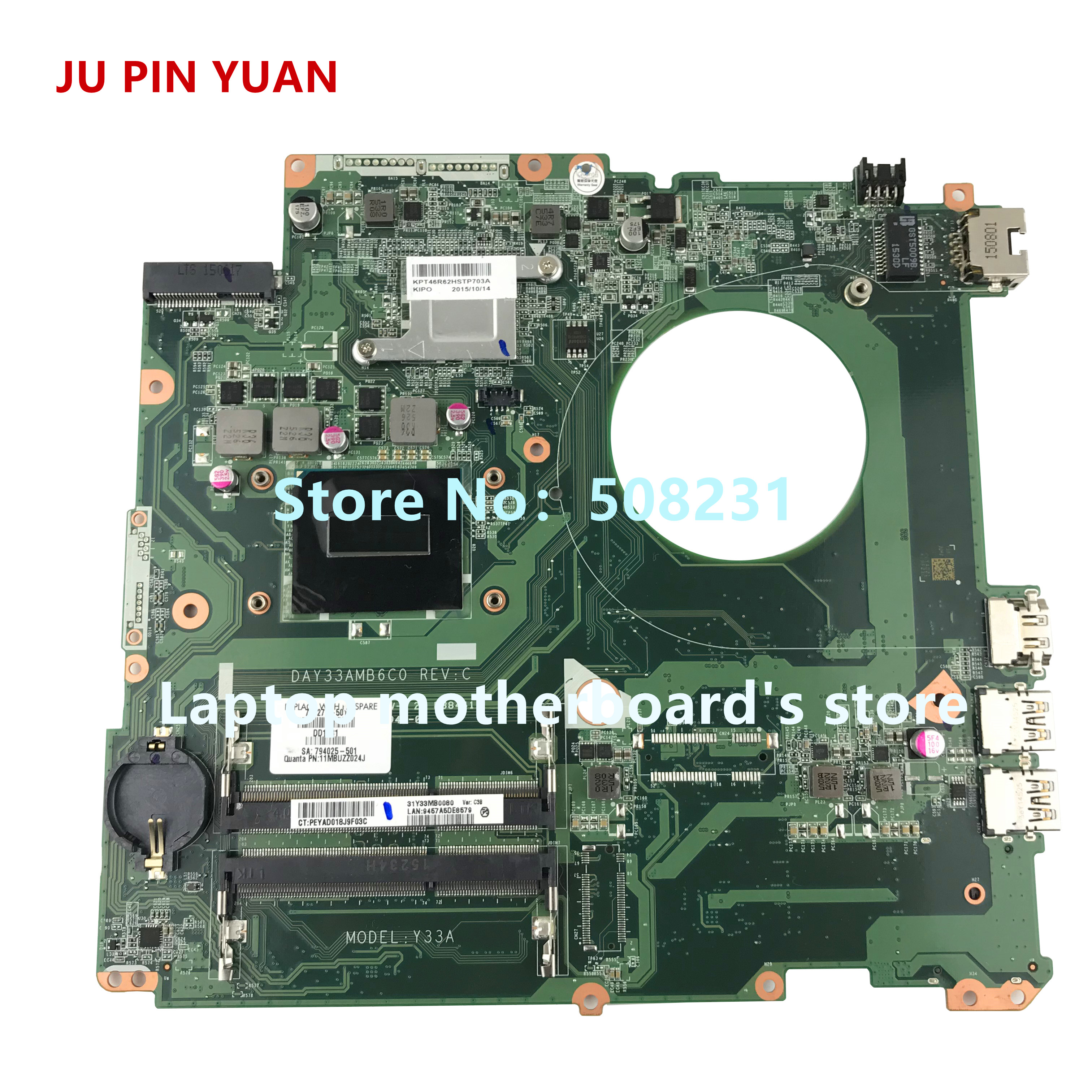 JU PIN YUAN 793272-501 DAY33AMB6C0 Y33A mainboard for HP ENVY 17-K 17T-K laptop motherboard with HM87 i7-4720HQ fully TestedJU PIN YUAN 793272-501 DAY33AMB6C0 Y33A mainboard for HP ENVY 17-K 17T-K laptop motherboard with HM87 i7-4720HQ fully Tested