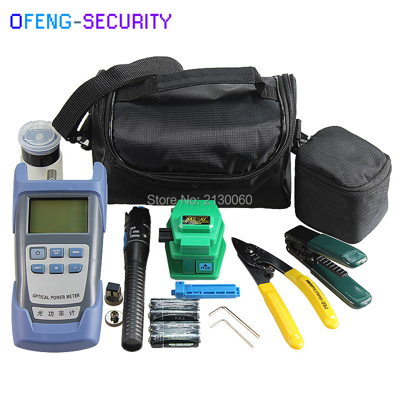 Fiber Optic FTTH Tool Kits with Optical Power Meter,Fiber Cleaver SKL-S1,1mw Visual Fault Locator 3-5KM,Alcohol bottle etc