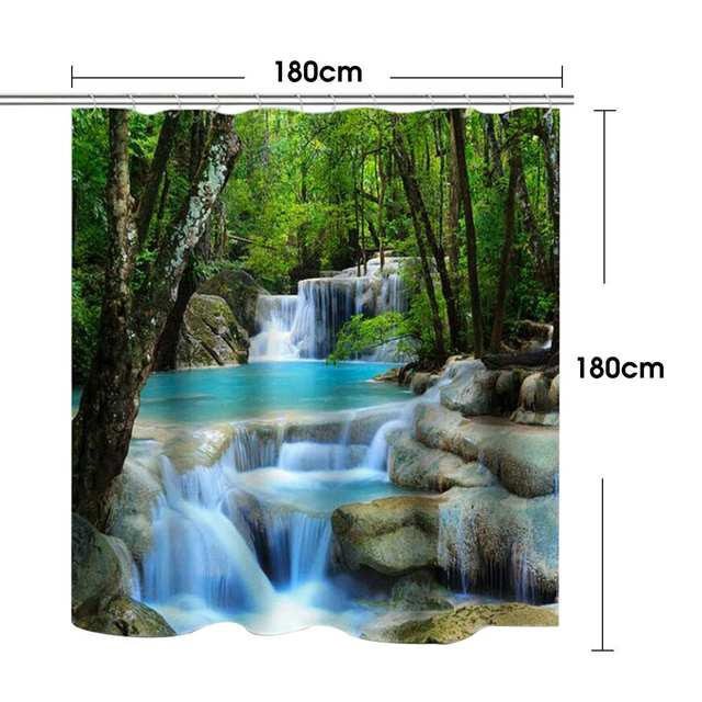 3D Waterfall Scenery Waterproof Shower Curtain 4