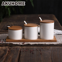 3 Pcs White Creative Ceramic Spice Jar Sets With Spoon And Cover Simple And Creative Salt Jar Sugar Japanese style Jar AKUHOME