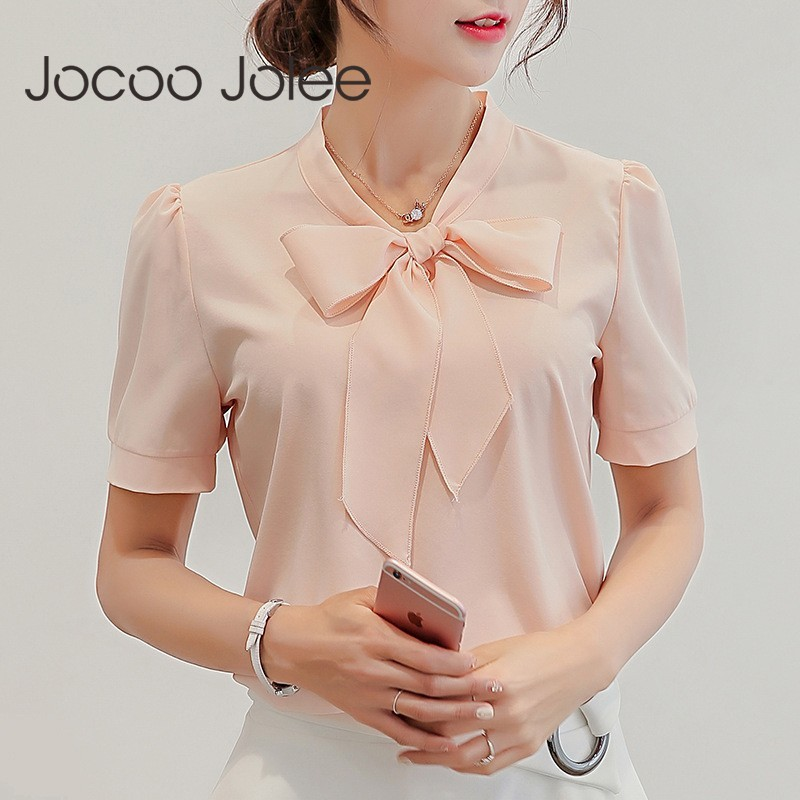 Jocoo Jolee Women Summer Chiffon Blouse Short Sleeve Shirts Fashion Office Ladies Leisure Bow Blouse Causal Tops