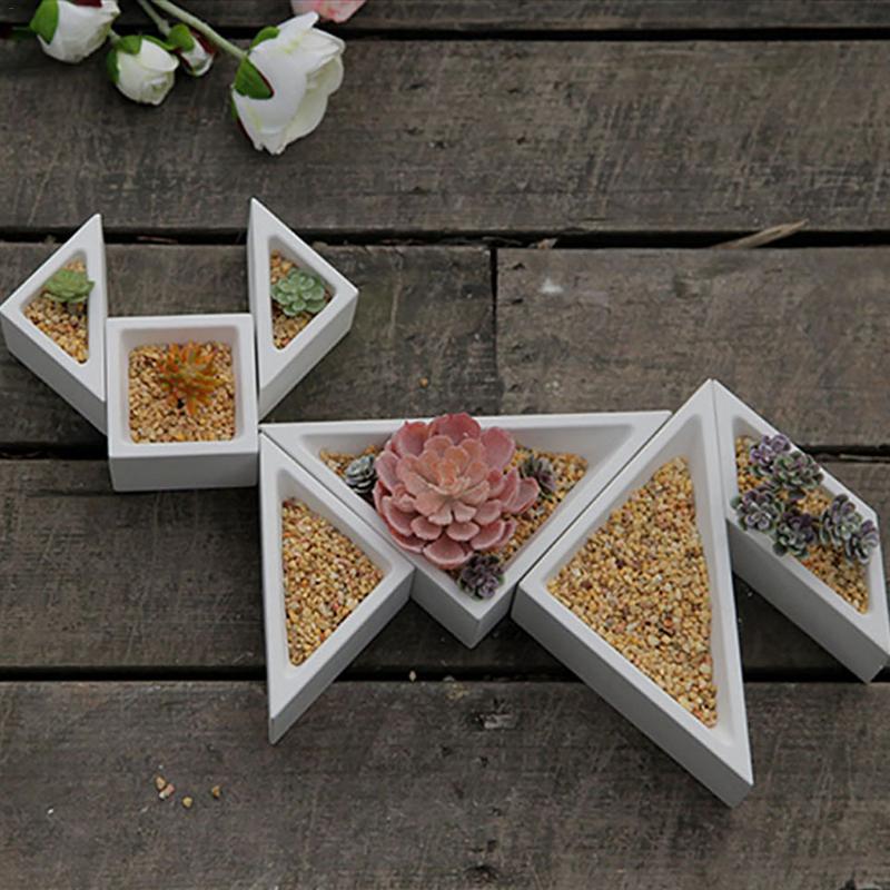 Concrete Planter Silicone Mold Rhombus Hexagon Shaped Geometric Home Decoration Craft Potting Succulent Plants Cement Vase Molds