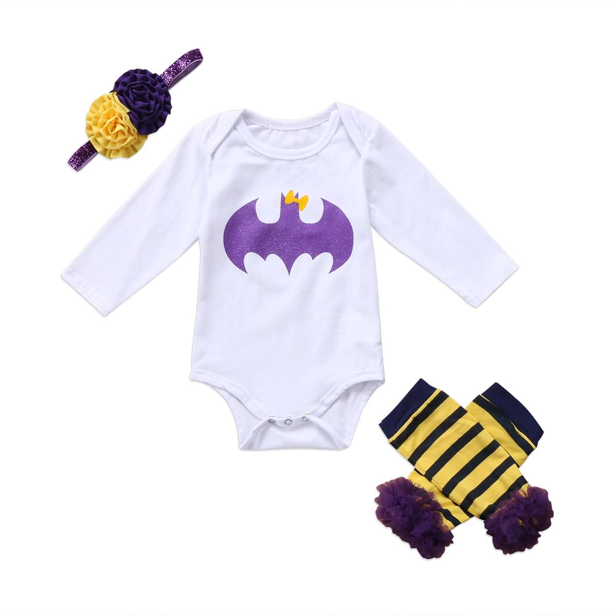 Emmababy Fashion Leuke 3 Pcs Pasgeboren Baby Meisje Kleding Cartoon Bodysuit Been Warmer Hoofdband Batman Outfit Elegante Vorm