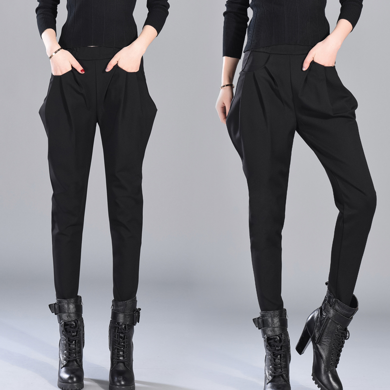 4XL Harem Pants Women Spring High Waisted England Style Black Pants Trousers Ladies Elegant Pencil Pants Plus Size Breeches
