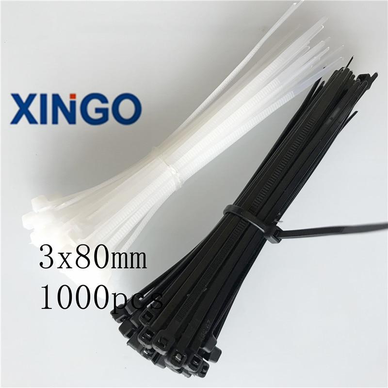 1000 Pcs Self Locking Black Plastic Cable Zip Tie Fasten Wrap 80mm x 2.5mm