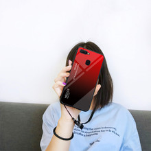 Gradient 9H Tempered Glass Case For OPPO F9 F7 R17 Case Soft TPU Edge Mirror Back Cover For OPPO F7 A7X Coques цена и фото