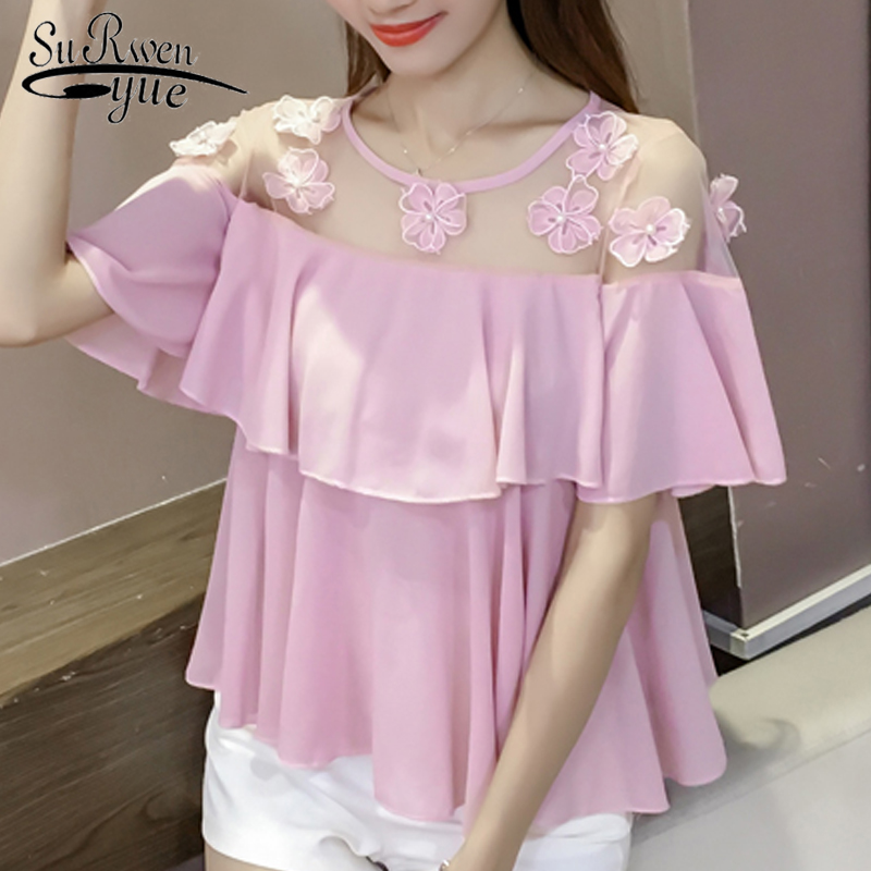 Partes superiores das mulheres e blusas mulheres camisas de manga curta plus size mulheres camisa mulheres blusas de chiffon blusa blusa branca 3468 50