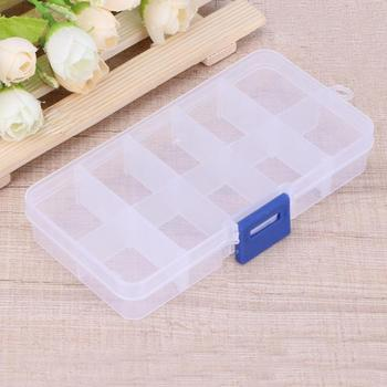 Refillable 10 Grids Detachable Storage Boxes Clear Adjustable Makeup Rhinestone Nail Art Tips Jewelry Craft Cosmetic Organizer image