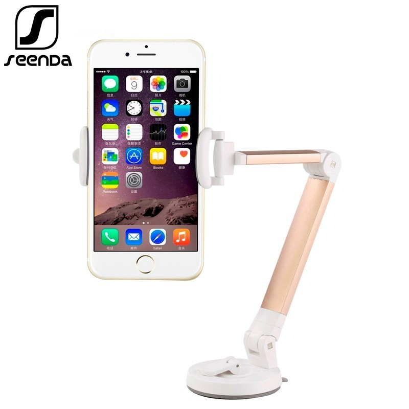 SeenDa Universal Metal Phone Stand 360 Degree Flexible Phone Holder Stand Desktop Table Mount Stand for iPhone Huaiwei Xiaomi little book of earrings