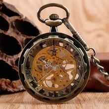 العتيقة برونزية الميكانيكية ساعة جيب اليد لف الجوف الهيكل العظمي Steampunk سلسلة الجيب قلادة ساعة أفضل الهدايا الرجال النساء