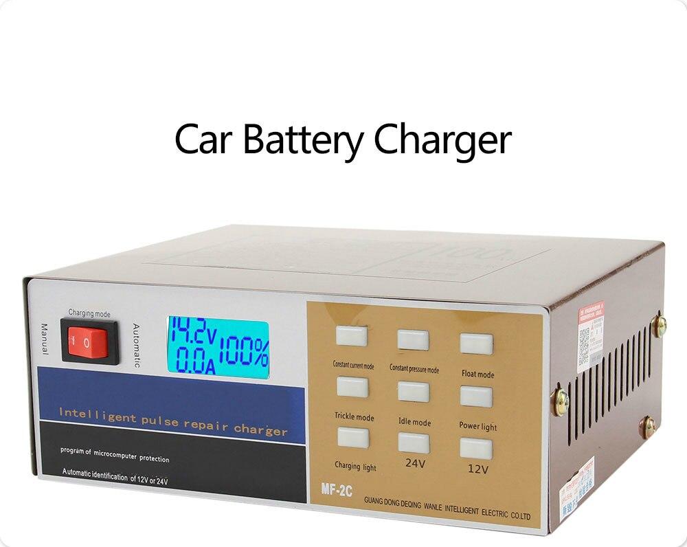 Chargeur de batterie de voiture 12 v 24 v UE Plug Complet Automatique voiture électrique chargeur de batterie Intelligente Réparation D'impulsion 100AH pour Moto