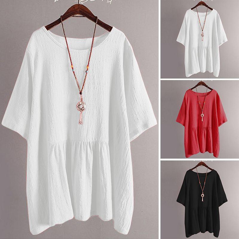 5abb232382a1 Media manga verano Camisetas blusa de las mujeres de moda Peplum Top ZANZEA  Plus túnica tamaño ...