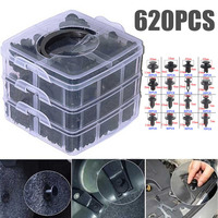 620pcs 16sizes Car Push Rivet Clip Durable Plastic Auto Car Interior Trim Install Retainer Fasteners for Bumper Door