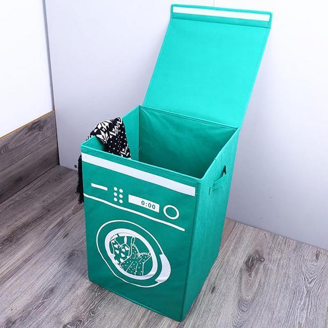 Não-tecido Dobrável Cesta de Lavanderia Máquina de Lavar Roupa Em Pé Brinquedos Caixa de Lavanderia Balde de Armazenamento De Roupas Organizador Titular Casa