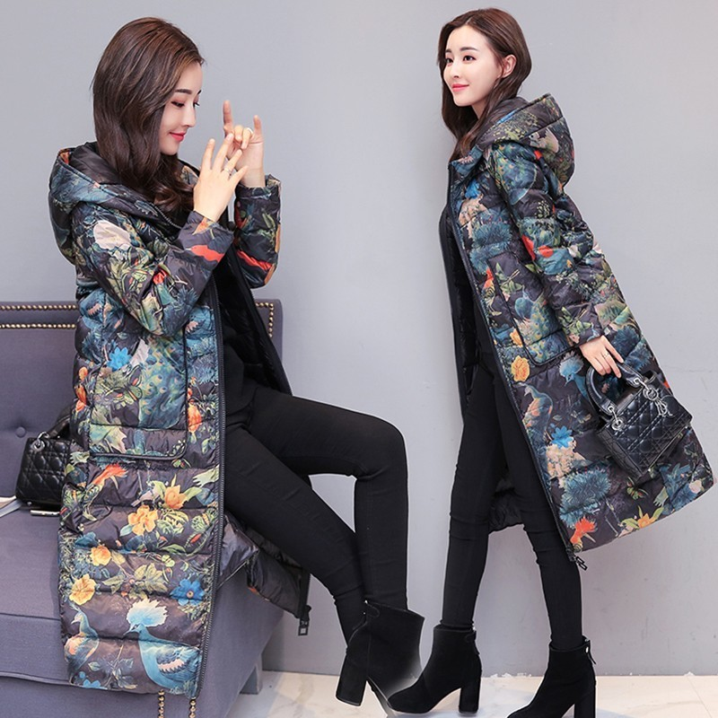 Winter Women Fashion Print White Duck   Down   Jacket Parka New Lightweight Warm Hooded   Coat   Female Long Slim Feather Overcoat Ls186