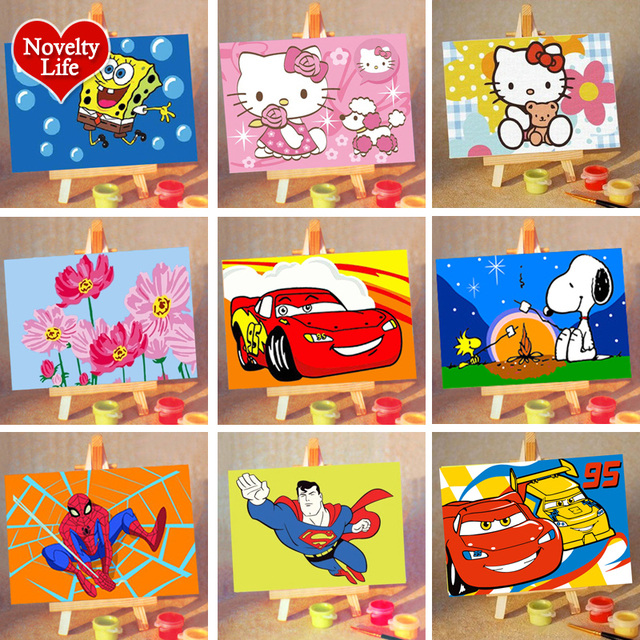 Diy Small Picture Painting By Numbers Easel Spongebob Children Home