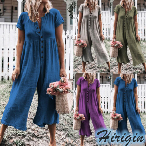 Summer Casual   Jumpsuits   Women's Summer Short Sleeve Loose   Jumpsuit   Solid Casual Button Loose   Jumpsuit