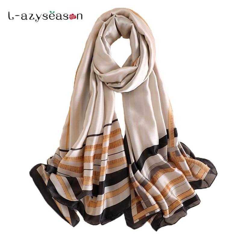 New Hijab summer All-match fashion Silk   Scarf   women brand luxury Shawls Plaid print   Scarves     Wraps   Lady's bandana hot sale Female