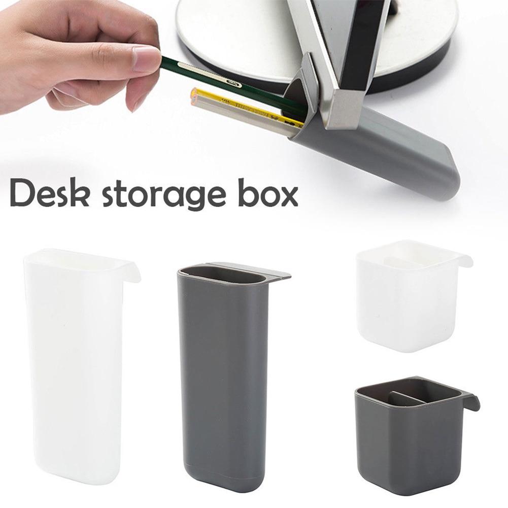 Stationery Pen Holder Makeup Storage Stick On Desktop Plastic Office Pencil Box Desk Organizer Brush Pot