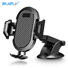 RAXFLY Carbon Fiber Car Phone Holder Mount Sucker Suction Cup Windshield Mobile Stand For Xiaomi Huawei