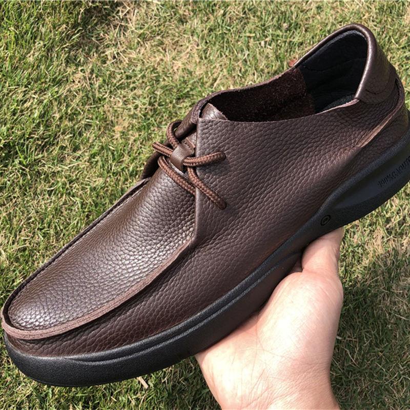 US 6 12 décontracté En Cuir Véritable Chaussures En Cuir Souple pour Hommes D'affaires Homme Respirant à lacets Évider D'âge Moyen Père Chaussures - 5